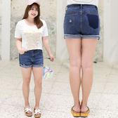 ★韓美姬★中大尺碼~翻邊毛邊牛仔短褲(XL~4XL)