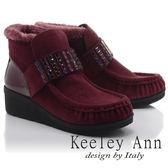 ★零碼出清★Keeley Ann民族風情~方形鑽飾質感保暖雪靴(酒紅色)