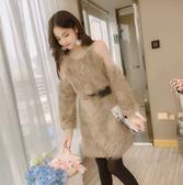 韓版寬鬆網紗拼接露肩中長款連身裙