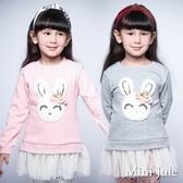 Mini Jule 女童 上衣 針織兔子造型網紗下擺不倒絨長袖上衣(共2色) Azio Kids 美國派 童裝