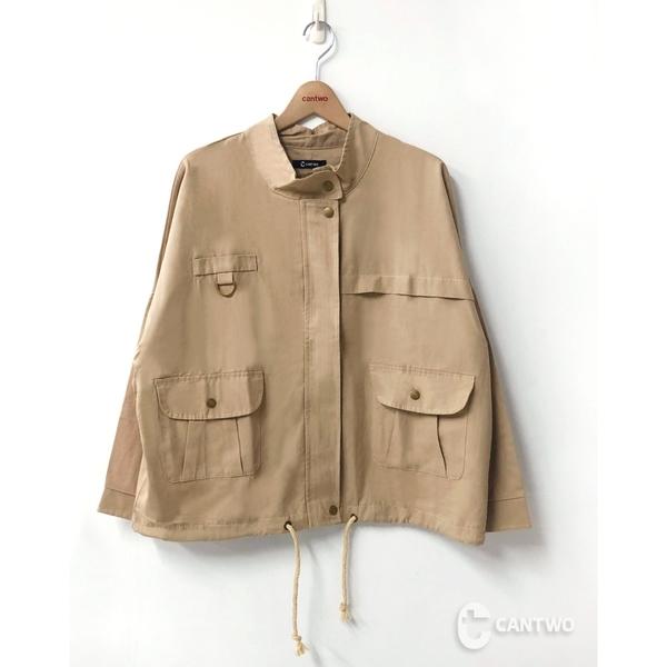 CANTWO雙口袋收腰綁帶外套-二色