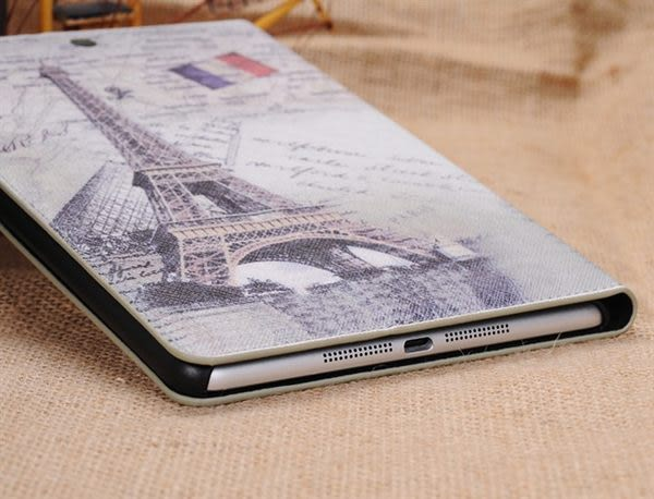mini3/2/1通用免運 巴黎鐵塔 蘋果IPAD mini3/2/1通用複古皮套 蘋果迷你 英倫風支架保護套皮套