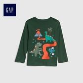 Gap男嬰幼童 舒適長袖T恤 496430-綠色
