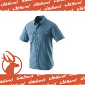 【Wildland 荒野 男 排汗抗UV短袖襯衫《中藍》】W1206-77/透氣排汗/UPF30+/防曬襯衫/登山
