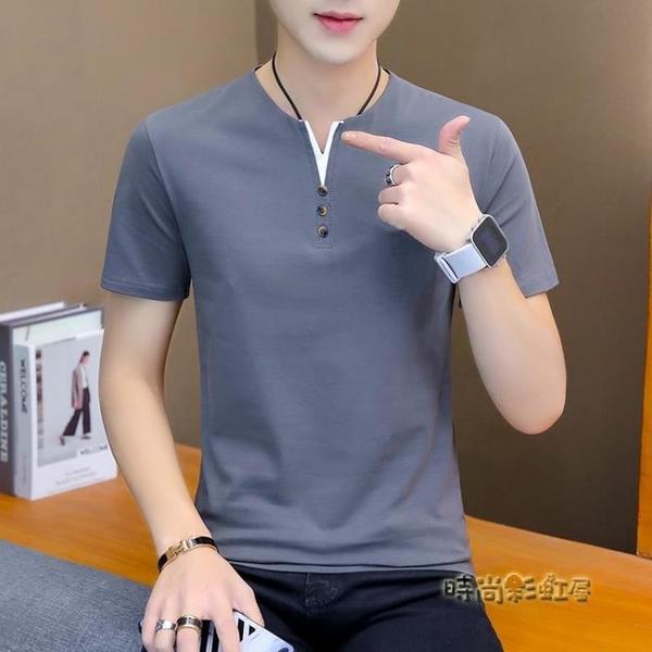 2020新款男士短袖T恤V領夏裝潮流男裝白色半袖純棉上衣服體恤「時尚彩紅屋」
