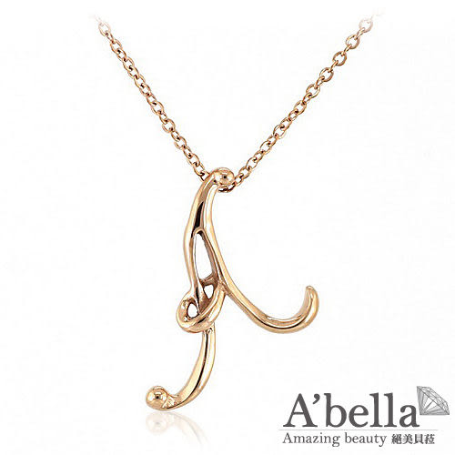 字言字語 Alphabet 字母白鋼墬鍊 (玫瑰金A)-A'bella