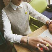 春季新品正韓港風潮流學生男女情侶針織衫毛衣馬甲男無袖背心 生日禮物