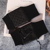 真皮手套-綿羊皮露指菱格縫線女手套73wf7【巴黎精品】