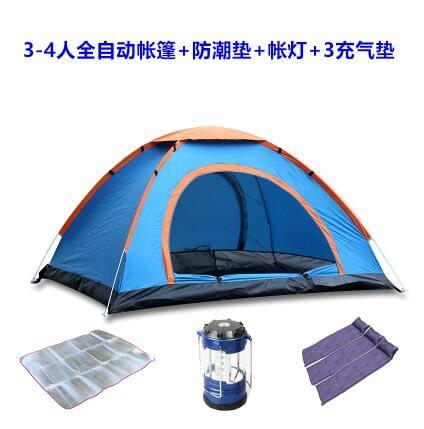 熊孩子❃2秒速開帳篷戶外帳篷自動雙人多人露營野營雙門帳篷(3-4人藍+鋁墊+馬燈+3充氣墊)