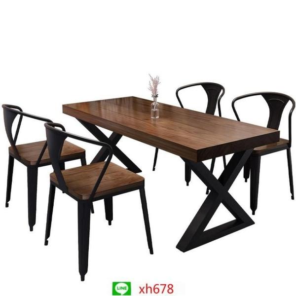 復古酒吧清吧音樂餐桌椅組合餐臺咖啡廳工業風燒烤鐵藝實木火鍋桌【頁面價格是訂金價格】