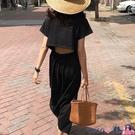熱賣T恤裙 韓國chic夏季設計款圓領寬鬆小心機后背鏤空設計短袖T恤連身裙女【618 狂歡】