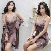 吊帶睡衣女夏季冰絲綢性感薄款誘惑極度睡裙2021年新款蕾絲兩件套