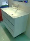 【麗室衛浴】大尺寸一體成型90cm*56cm烤漆玻璃檯面+發泡板浴櫃
