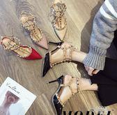 低跟涼鞋 法式少女高跟鞋女細跟尖頭黑色性感單鞋金屬柳釘涼鞋 - 古梵希鞋包