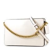 美國正品 COACH 專櫃款 古銅金小牛皮拉鍊手提/斜背二用包-白色【現貨】