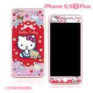 三麗鷗 正版授權 iPhone 6/6s Plus 玻璃貼 凱蒂貓 Kitty 雙面 保護貼 5.5吋 Sanrio -格紋