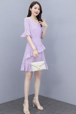 洋裝大碼V領雪紡連身裙時尚女中長款韓版顯瘦碎花長裙1F-666-B 胖妹大碼女裝