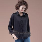 依酷衫 大碼女裝秋季新款黑色寬鬆氣質小衫閃亮鑲鉆垂感女士襯衫
