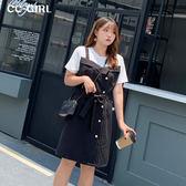 中大尺碼 假兩件式黑色不對稱洋裝(附腰帶) - 適XL~4L《 68413HH 》CC-GIRL