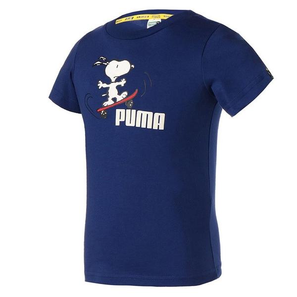 【現貨】PUMA x PEANUTS 童裝 大童 短袖 純棉 聯名 史奴比 休閒 藍【運動世界】59945712