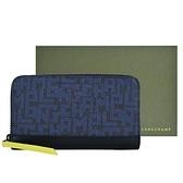 【南紡購物中心】LONGCHAMP LE PLIAGE LGP系列滿版字母拉鍊長夾(黑X海軍藍)