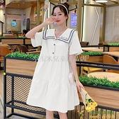 洋裝連身裙孕婦裝夏季A字潮辣媽寬松顯瘦甜美海軍領超仙森系孕婦連身裙品牌【小玉米】