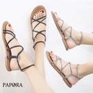PAPORA辮子結設計平底休閒涼鞋KK7785黑/銀