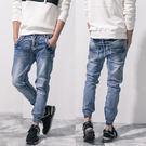 縮口褲.美式質感湛藍牛仔褲...
