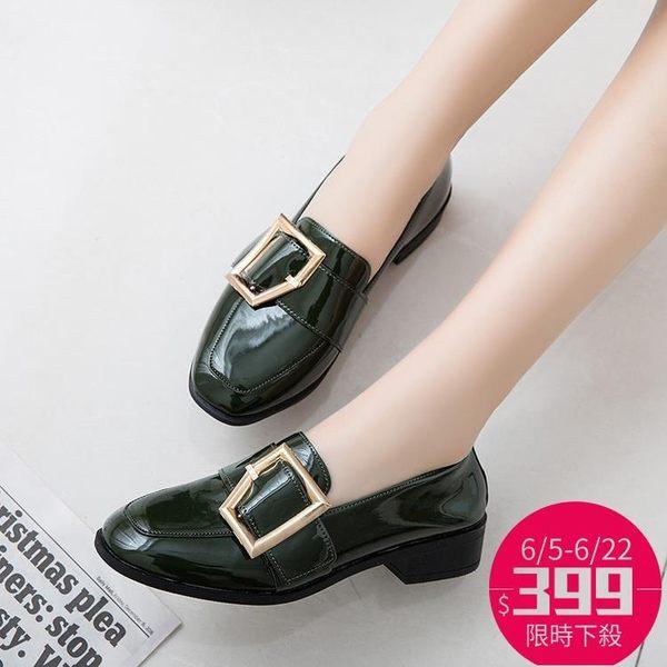 單鞋 漆皮方頭粗跟金屬扣韓版