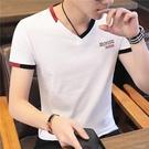 夏季男士短袖T恤V領修身潮流體恤丅男裝潮牌衣服2021韓版純棉半袖「時尚彩紅屋」