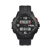 【FILA 斐樂】帥氣指針電子錶-霸氣黑/38-150-005/台灣總代理公司貨享兩年保固