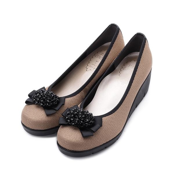 FIRST CONTACT 珠花緞帶楔型鞋 米 39603 女鞋