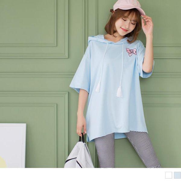 《AB2671-》素色蝴蝶結刺繡造型流蘇抽繩連帽高棉量寬鬆上衣 OB嚴選