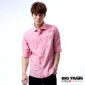 BIG TRAIN 棉麻素色襯衫-男-粉紅