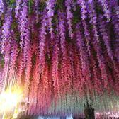 人造花 仿真紫藤花假花紫羅蘭吊頂花藤加密室內婚慶裝飾藤條塑料藤蔓植物 芭蕾朵朵