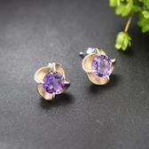 耳環 925純銀紫晶-精緻亮眼生日情人節禮物女飾品2色73hl55【時尚巴黎】