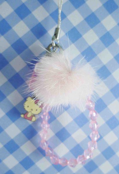 【震撼精品百貨】Hello Kitty 凱蒂貓~KITTY手機提帶-粉珠(毛)