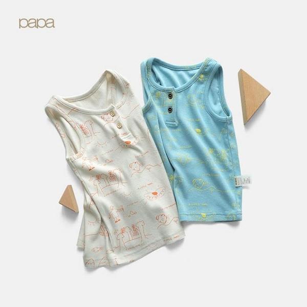 papa爬爬夏季兒童無袖背心內穿男女寶寶薄款透氣上衣打底衫0-5歲(快速出貨)