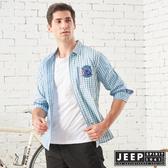 【JEEP】雙色格紋拼接長袖襯衫 (綠格紋)