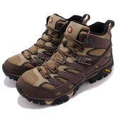 Merrell 戶外鞋 Moab 2 Mid GTX 咖啡 米白 Vibram 黃金大底 健行 登山鞋 男鞋 【PUMP306】 ML12117