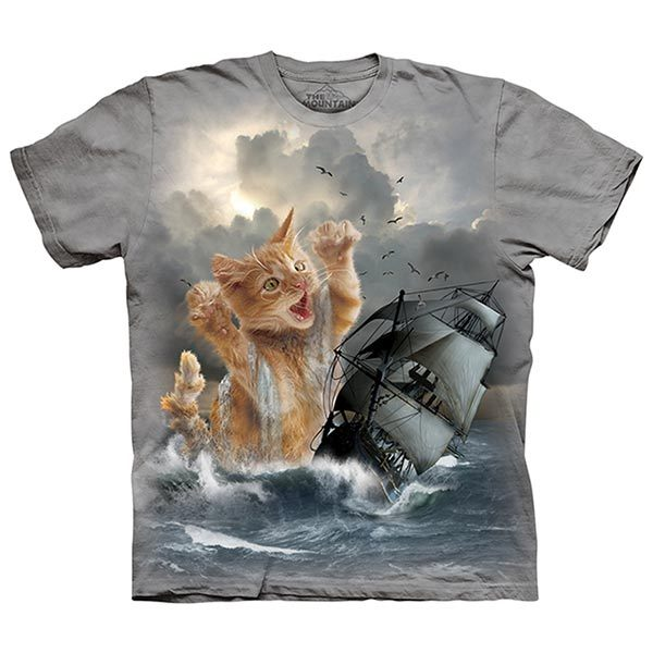 【摩達客】(預購)美國進口The Mountain 白貓記 純棉環保短袖T恤(10415045011)
