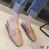 [Bbay] 穆勒鞋 方頭 涼拖鞋 外穿 復古 包頭 平底 穆勒鞋 懶人 半拖