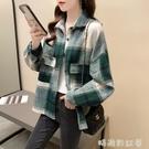 加絨加厚磨毛格子撞色襯衫女上衣2020年秋冬新款韓版寬鬆襯衣外套「時尚彩紅屋」