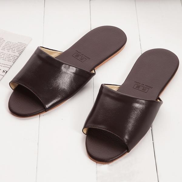 【333家居鞋館】好評回購 日式抗菌仿皮室內拖鞋-咖啡色