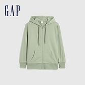 Gap女裝 碳素軟磨系列 法式圈織簡約風開襟連帽外套 861043-淺綠色