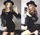 VK精品服飾 韓系雪紡袖性感透視鏤空包臀夜店長袖洋裝