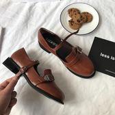 小sun家韓國ulzzang街拍皮鞋復古圓頭學院娃娃鞋休閒chic單鞋女  極有家