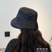 英倫縫線漁夫帽女可愛春韓國百搭盆帽遮陽大檐可折疊帽子 交換禮物