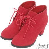 Ann'S復古英倫-素面綁帶顯瘦粗跟踝靴-紅