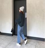 小個子穿搭褲子女秋冬2019新款韓版高腰寬鬆直筒褲顯瘦百搭牛仔褲